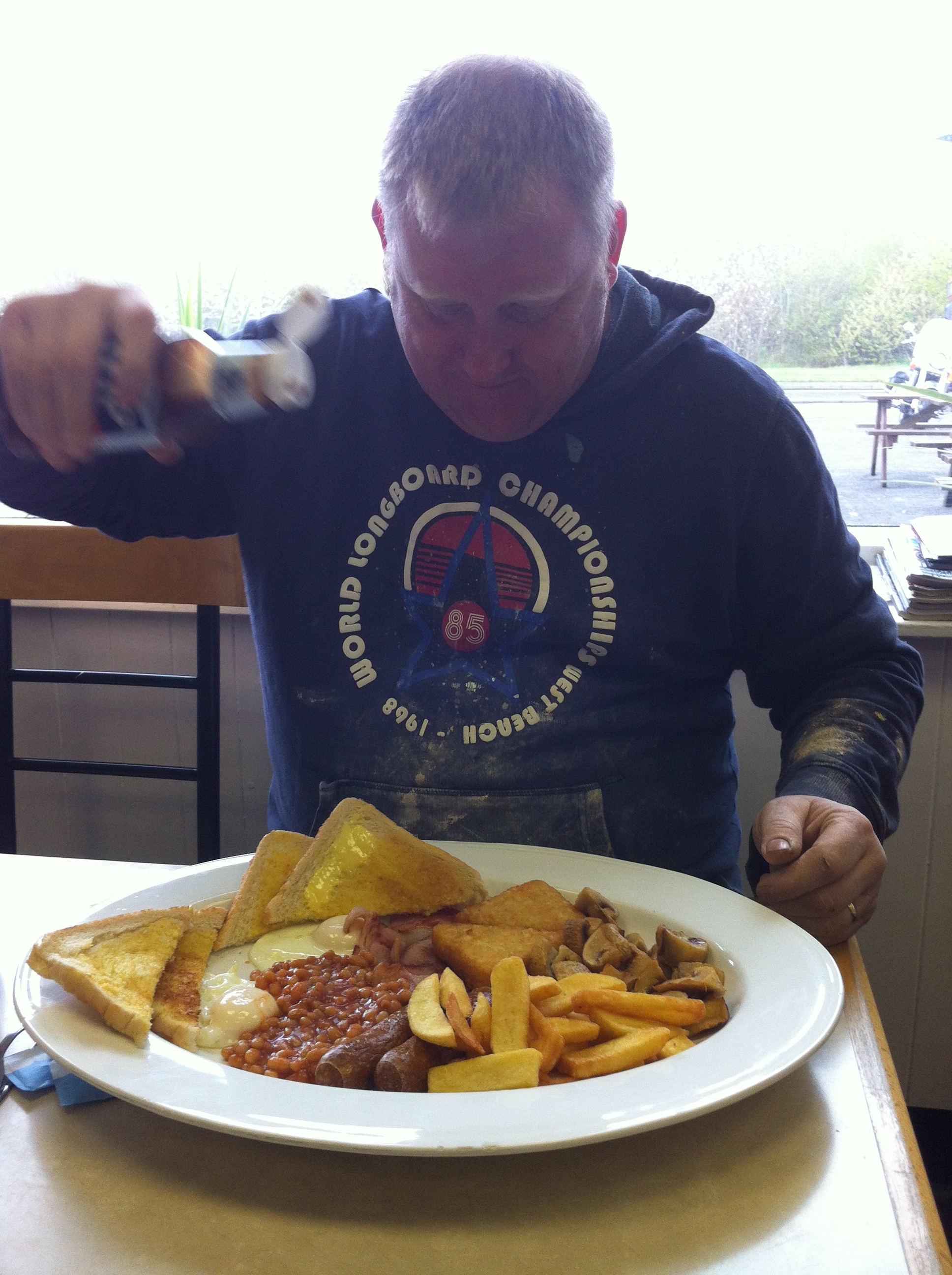 Chris tucks into a snack at The H Cafe, Berinsfield