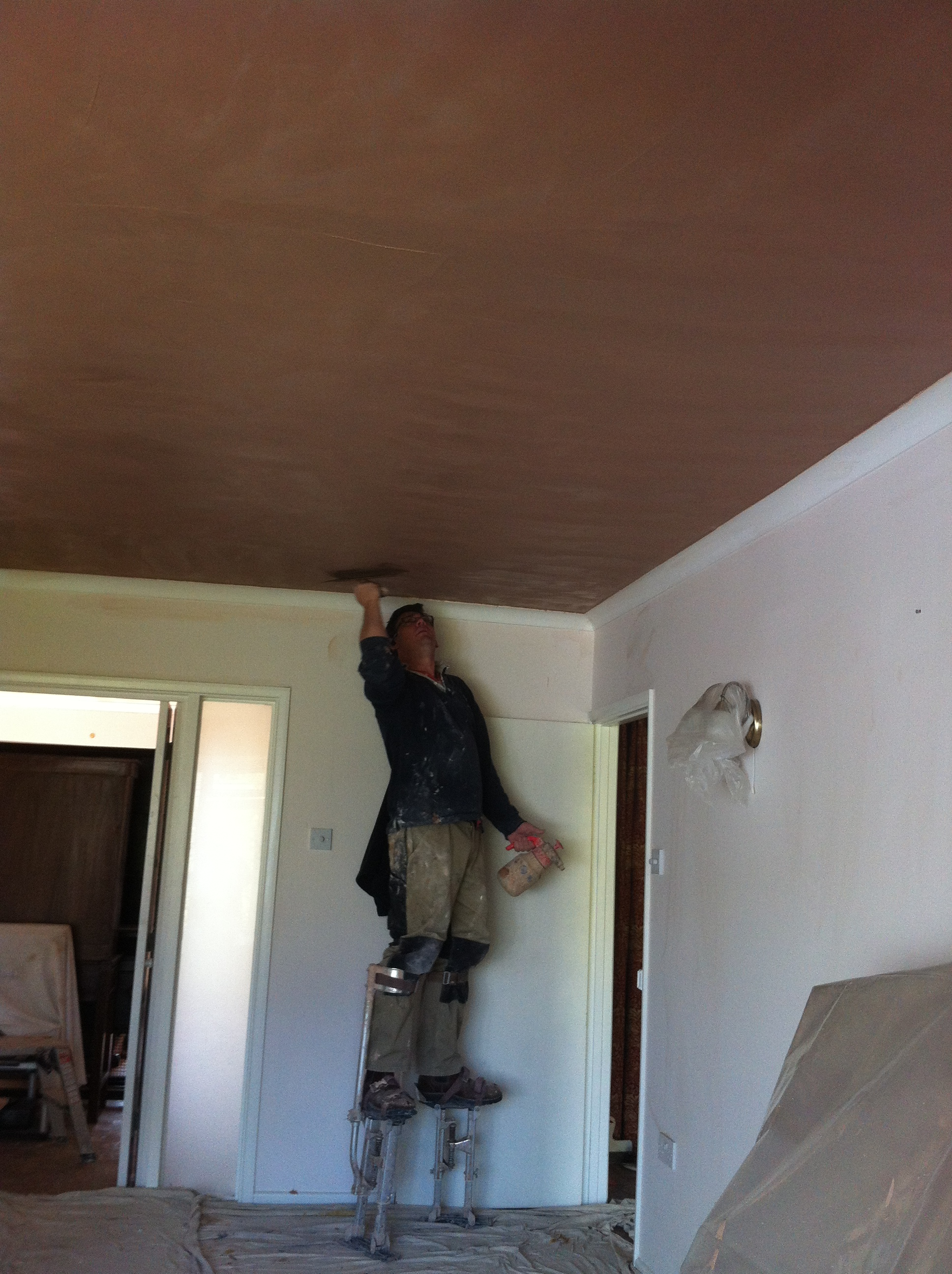 Plastering over an artex ceiling in Cholsey